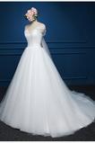 Robe de mariée net Simple Orné de Nœud à Boucle Plage Naturel taille