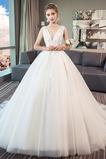 Robe de mariage Norme A-ligne Sans Manches Formelle Automne Naturel taille