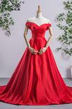Robe de mariée Simple Naturel taille Laçage Satin Chapelle Traîne Longue