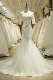 Robe de mariée Chic Manche de T-shirt gossamer Couvert de Dentelle