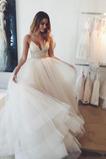 Robe de mariée A-ligne Romantique Longueur de plancher Col en V Foncé
