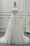 Robe de mariée a ligne Ruché Décolleté Dans le Dos Chapelle Traîne Longue