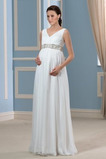 Robe de mariée Elégant Col en V Drapé Empire Longueur de plancher