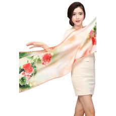 Écharpe Froid Vraie soie fleurs Plaine Campagne Vaporiser la fleur
