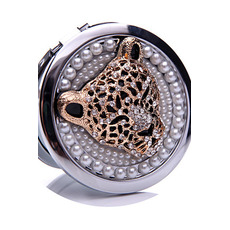 Cercle incrusté diamant anniversaire mariage métal pliage petit miroir et peigne