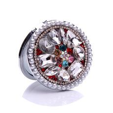Cercle luxueux incrusté de diamant Petit miroir et peigne de dessin animé pliant