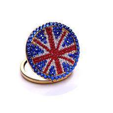 Portable Gros drapeau national Double face diamant incrusté M mot petit miroir et peigne