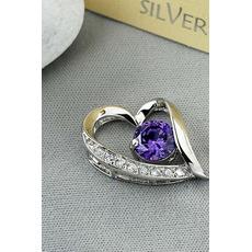 Pendentif en argent en forme de coeur en forme de coeur en argent pour femme Collier et pendentif