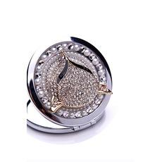 Haut de gamme double face Le charme pliant diamant incrusté Business petit miroir et peigne