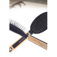 Massage Poignée en bois Plastique Noir Anti-statique Soins de santé Petit miroir et peigne