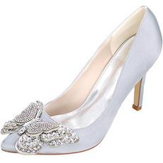 Chaussures de mariée en satin strass chaussures de mariage blanches chaussures de mariée arc