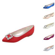 Chaussures pointues plates pour femmes Chaussures de mariée en satin de mariée en strass classique