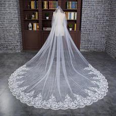 Voile de mariée blanc Froid Largeur Tulle Formelle Avec le peigne