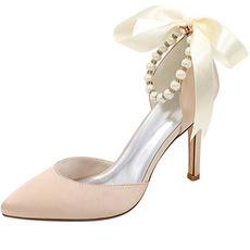 Modèles de printemps et d'été sexy bouche peu profonde pointue talons hauts boucle chaussures à talons fins