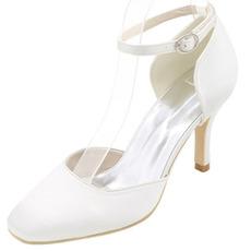 Mariage talons hauts bout rond chaussures à talons carrés
