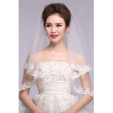 Voile de mariée Formelle blanc Dentelle Court Automne Avec le peigne