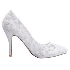 Dentelle de printemps bouche peu profonde pointu chaussures simples fleurs brodées talons hauts chaussures de mariage blanches