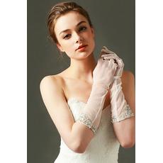 Gants de mariage Tulle Perler De longueur moyenne Sexy blanc