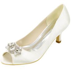 Chaussures de bouche de poisson en strass à talons hauts Chaussures de banquet en satin de mode Chaussures de mariage