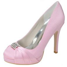 Satin Bride Demoiselle D'honneur Chaussures Rose Chaussures De Mariage Dîner Soirée Performance Talons Hauts