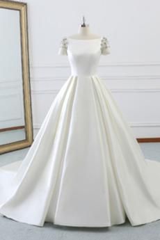 Robe de mariage A-ligne Traîne Royal Norme Jardin Naturel taille