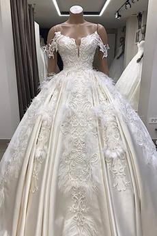Robe de mariée Eglise Naturel taille Manquant A-ligne Traîne Moyenne