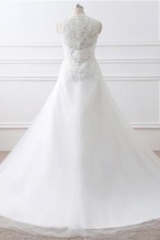 Robe de mariage Naturel taille Sans Manches Automne A-ligne Traîne Longue
