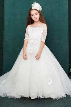 Robe de fille de fleur Manche Aérienne Longue A-ligne noble Rosée épaule