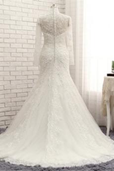 Robe de mariée Sirène Formelle Fermeture à glissière Col en V