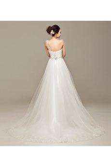 Robe de mariée Une épaule Dentelle Naturel taille Elégant Asymétrique