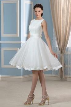 Robe de mariée Sans Manches Soie Mode Longueur de genou Naturel taille