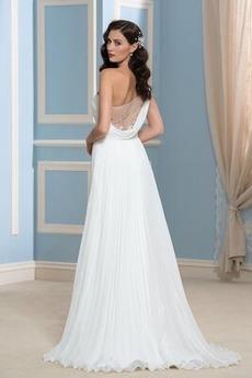 Robe de mariée Traîne Moyenne Milieu Mousseline Mode Une épaule