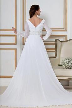 Robe de mariée Hiver vogue Mousseline Ample & Ornée Asymétrique
