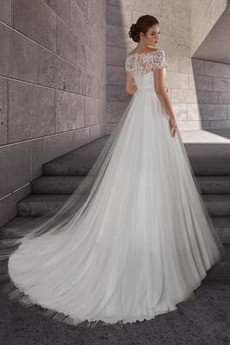 Robe de mariée Manche Courte net Empire Appliquer Jardin Simple