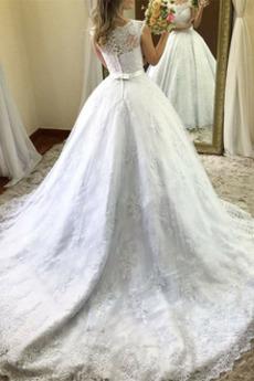 Robe de mariée Orné de Nœud à Boucle Plage Naturel taille Sans Manches