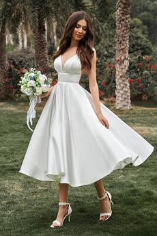 Robe de mariée Dos nu Longueur Mollet Sans Manches Attrayant