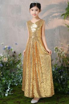 Robe de fille de fleur Col en V Pailleté Naturel taille Elégant