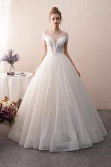 Robe de mariée gossamer Été Étoilé Salle aligne Sans Manches