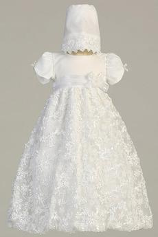 Robe de fille de fleur Princesse Satin élancé Bébé Fleurs Petit collier circulaire