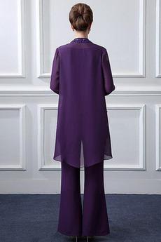 Robe mères Avec la veste Longueur Cheville Printemps Pomme Col Bateau
