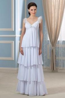 Robe de mariée Empire Col en V Traîne Courte Taille haute Printemps