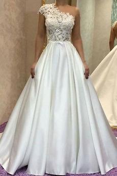 Robe de mariée Couvert de Dentelle Une épaule Rivage Naturel taille