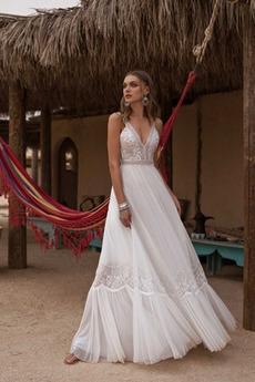 Robe de mariée Appliquer À la masse A-ligne Dentelle Plage Col en V Foncé
