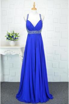 Robe de bal Bleu taille haut Printemps Mousseline Elégant Sans Manches