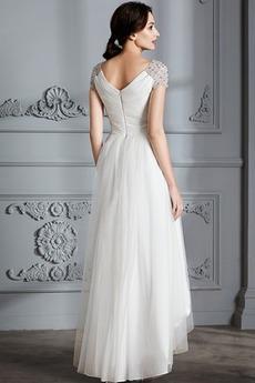 Robe de mariée Asymétrique Été Manche de T-shirt Fourreau pli
