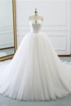 Robe de mariée Tulle Naturel taille Drapé Cathédrale a ligne