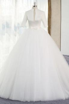 Robe de mariée Hiver Rivage Fermeture éclair 3/4 Manche Naturel taille