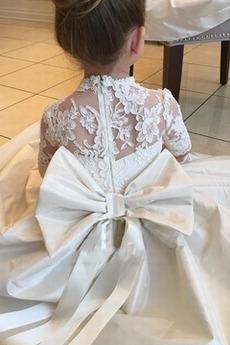 Robe de fille de fleur Cérémonie a ligne Manche de T-shirt Décalcomanie