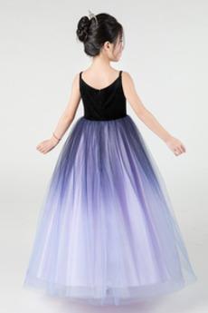 Robe de fille de fleur Fermeture éclair À la masse Luxueux Col en V