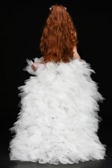 Robe de fille de fleur Tulle Manquant Asymétrique Corsage Avec Bijoux
